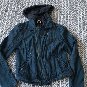 Free people jacket with removable hood